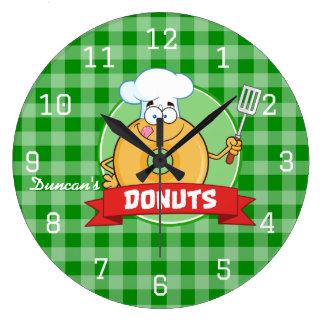 Doughnut Kitchen Chef Green Gingham Large Clock