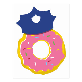 doughnut police officers hat postcard
