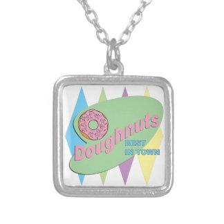 doughnut shop silver plated necklace