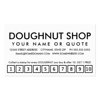 doughnuts. loyalty punch card pack of standard business cards