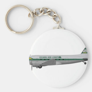 Douglas DC-3 Ozark Airlines Basic Round Button Key Ring