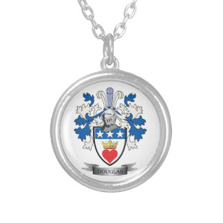Douglas Family Crest Coat of Arms Silver Plated Necklace