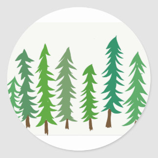 Douglas Fir Trees Classic Round Sticker