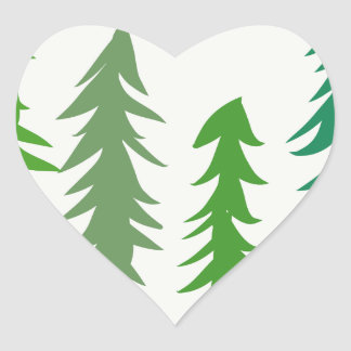 Douglas Fir Trees Heart Sticker