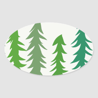 Douglas Fir Trees Oval Sticker
