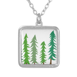 Douglas Fir Trees Silver Plated Necklace