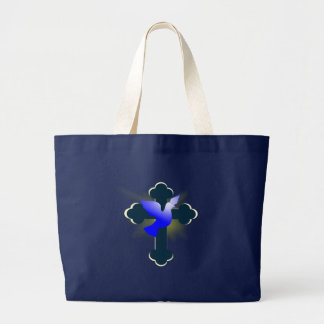 dove and cross large tote bag