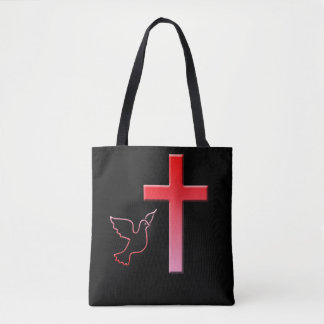 Dove and cross tote bag
