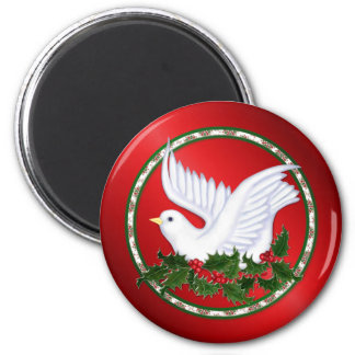 Dove and Holly 6 Cm Round Magnet