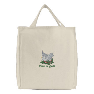 Dove and Holly Embroidered Bags