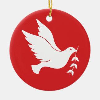 Dove and olive branch ceramic ornament