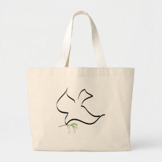 Dove and Olive Branch Image Large Tote Bag