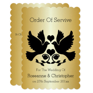 Dove Black And Gold Wedding Order Of Service Card