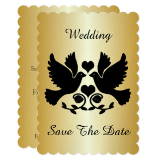 Dove Black And Gold Wedding Save The Date Card