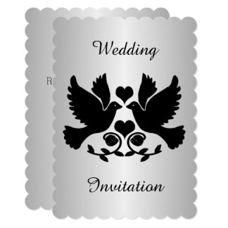 Dove Black And Silver Wedding Card