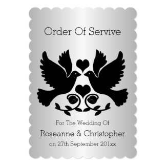 Dove Black And Silver Wedding Order Of Service Card