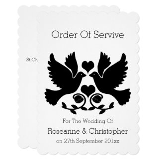 Dove Black And White Wedding Order Of Service Card