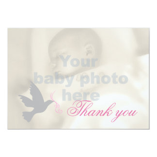 Dove dusky pink girls baptism photo thank you card 13 cm x 18 cm invitation card