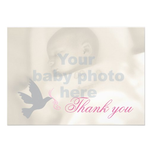 Dove dusky pink girls baptism photo thank you card