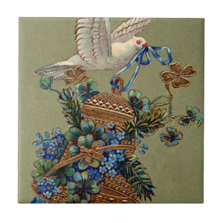 Dove Forget Me Not Four Leaf Clover Bell Evergreen Ceramic Tile