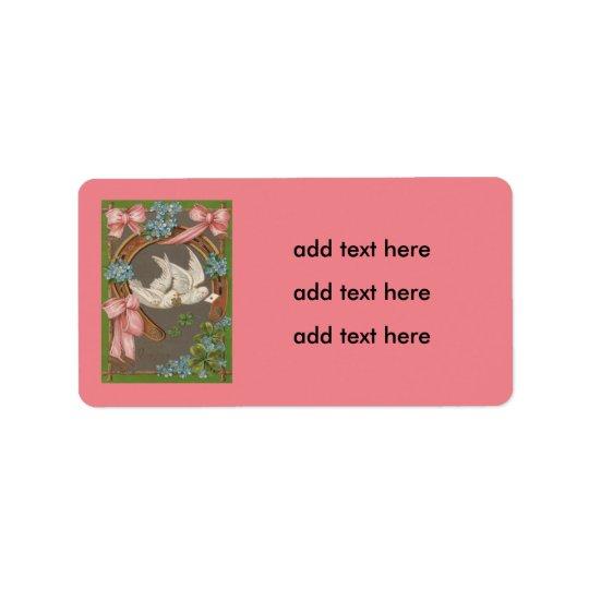 Dove Forget-Me-Nots Horseshoe Four Leaf Clover Label