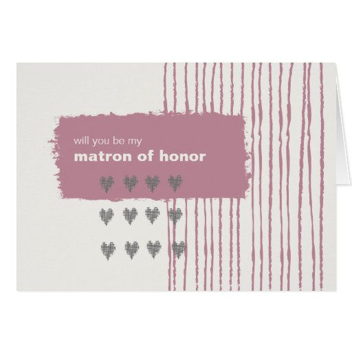 Dove Gray and Pink Be My Matron of Honor Cards