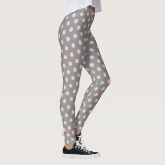 Dove Grey and Baby Pink Polka Dots Leggings