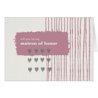 Dove Grey and Pink Be My Matron of Honour Cards