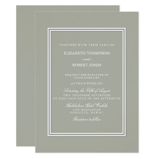 Dove Grey and White Borders and Text Card