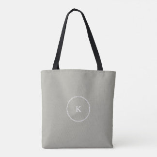 Dove Grey and White Borders and Text Tote Bag