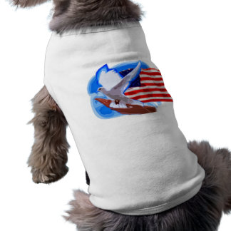 Dove in front of American Flag Pet Tshirt
