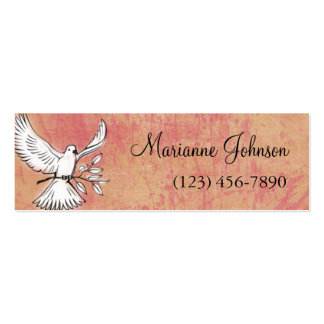Dove Love Grunge Art Skinny Profile Card Double-Sided Mini Business Cards (Pack Of 20)