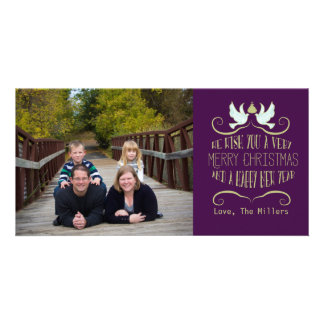 Dove Merry Christmas Happy New Year Purple Card