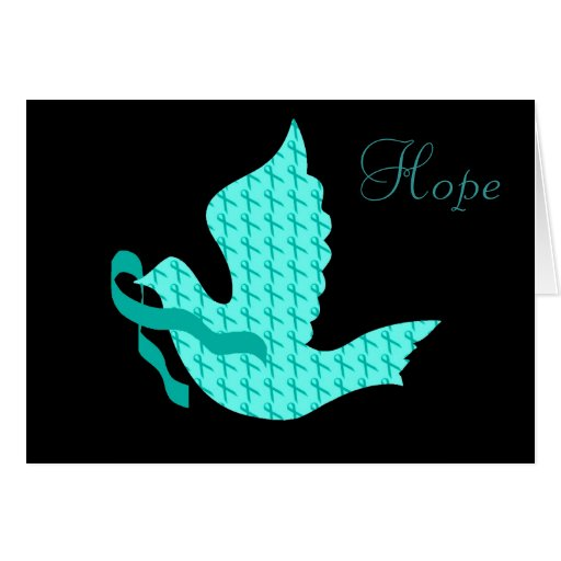 Dove of Hope Teal Ribbon - Ovarian Cancer Cards
