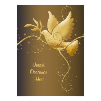 Dove of peace Christmas 14 Cm X 19 Cm Invitation Card