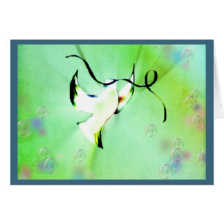 Dove of peace holding a ribbon card