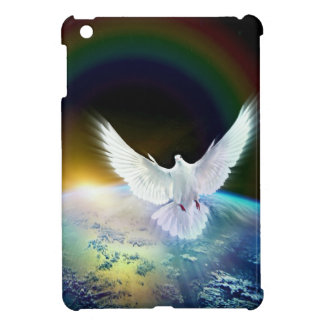 Dove of Peace Holy Spirit over Earth with Rainbow. iPad Mini Case