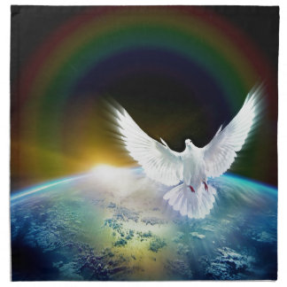 Dove of Peace Holy Spirit over Earth with Rainbow Napkin