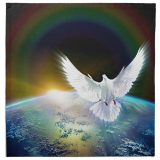 Dove of Peace Holy Spirit over Earth with Rainbow. Napkin