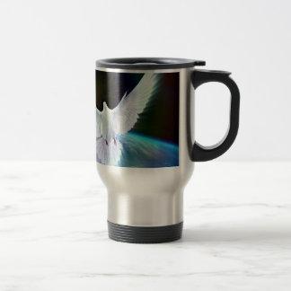 Dove of Peace Holy Spirit over Earth with Rainbow Travel Mug
