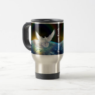 Dove of Peace Holy Spirit over Earth with Rainbow. Travel Mug