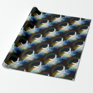 Dove of Peace Holy Spirit over Earth with Rainbow. Wrapping Paper