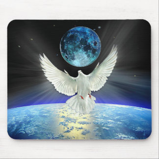 Dove of Peace over Earth from Space Mouse Pad