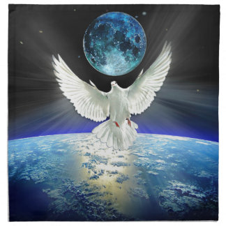 Dove of Peace over Earth from Space Napkin