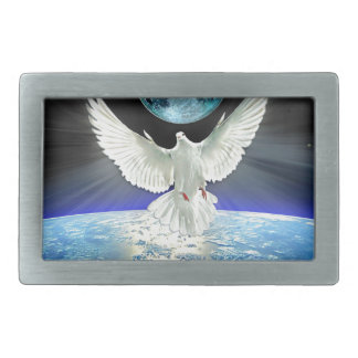 Dove of Peace over Planet Earth Sunrise Belt Buckle