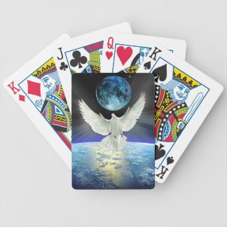 Dove of Peace over Planet Earth Sunrise Bicycle Playing Cards