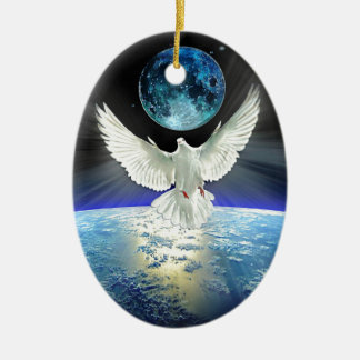 Dove of Peace over Planet Earth Sunrise Ceramic Ornament