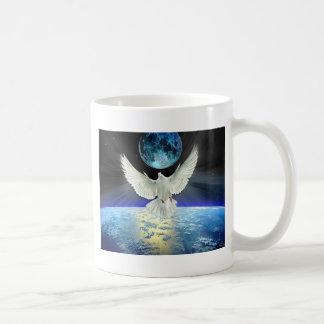Dove of Peace over Planet Earth Sunrise Coffee Mug