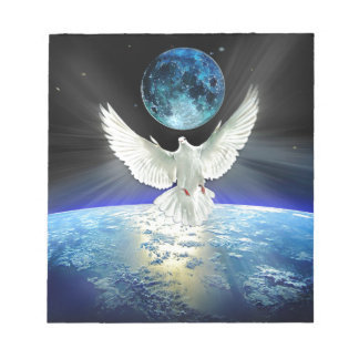 Dove of Peace over Planet Earth Sunrise Notepad