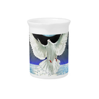 Dove of Peace over Planet Earth Sunrise Pitcher